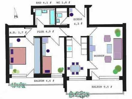 PRIVATVERKAUF einer leersteh. 4-Zi-Wohnung mit 2 Südbalkonen, München-Neuperlach