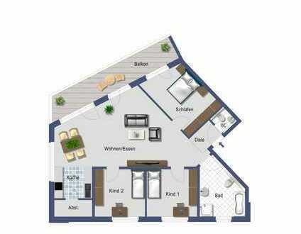 Geräumige 4,5 Zimmer-Obergeschoss-Wohnung mit tollem Balkon