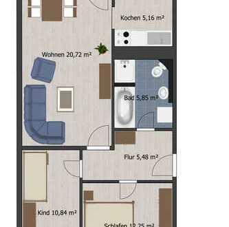 3-Raum-Wohnung mit großem Bad