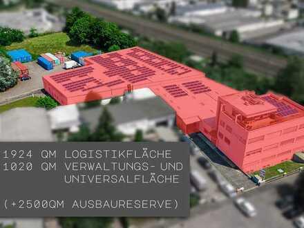 Lagerflächen 1924 m² mit direkt angrenzendem Bürogebäude 1227 m² und Ausbaureserve von 2500 m²