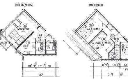 Gut geschnitte 3-ZimmerMaisonette mit Balkon und 2 Wannenbädern