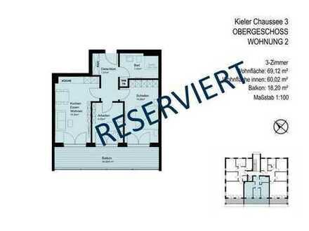 RESERVIERT - 3-Zimmer-Wohnung mit großem Südwest-Balkon