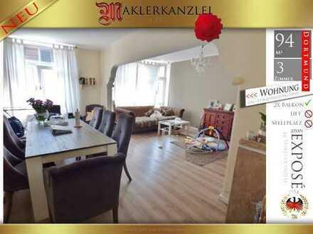 +++ NEU +++ große 3 Zimmer, 94 m² Wohnung in 4. Etage ohne Lift (nördliche Innenstadt Dortmund)
