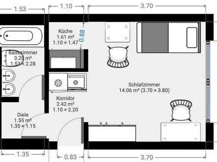 Voll möblierte, frisch sanierte 1-Zi.-Whg in Korber Höhe WN mit eigenem Bad u. kleiner Küche