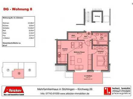 Neubau 9 Familienhaus Stühlingen- 2 Zimmerwohnung Dachgeschoss