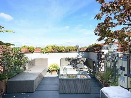 Schwabing: Vermietete Dachgeschoss-Maisonette-Wohnung mit fantastischem Fernblick und Potential