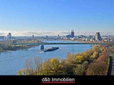 Dom- und Rheinblick par excellence. Seltene Eck-Wohnung im Axa-/Colonia-Hochhaus.
