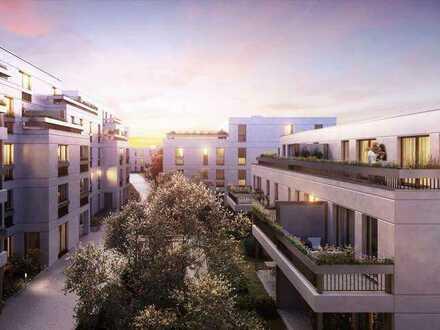 Neubau 2-Zimmer-Wohnung mit großer Loggia, Einbauküche und freiem Blick auf den ruhigen Innenhof
