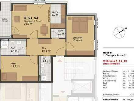 Neuwertige 3-Zimmer-Wohnung mit Option betreutes Wohnen in Ladenburg