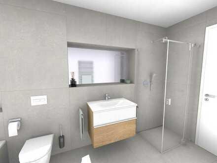 2-Zi-Musterwohnung mit 33 m² großem Wohn-/Ess-/Kochbereich, Tageslichtbad, 16m²-Terrasse