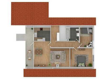 Schöne 3-Zimmer Wohnung im DG, neues Bad, Einbauküche