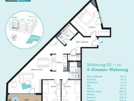 Erstbezug: stilvolle 4-Zimmer-Wohnung mit Einbauküche und Balkon in Mainz