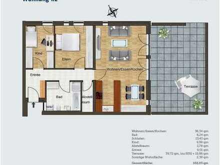 schöne 3-Zimmer Neubauwohnung mit Terrasse ab sofort (bzw. nach Absprache) zu vermieten