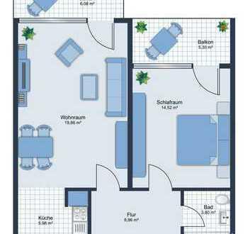 E&Co. FREIE helle und gut geschnittene 2 Zimmerwohnung mit 2 Südost-Loggien nahe Flaucher