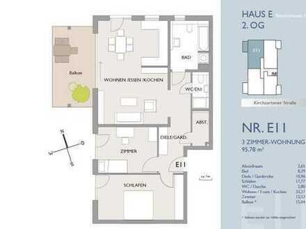 Tolle 3-Zi.-Wohnung mit großem Balkon - Erstbezug!