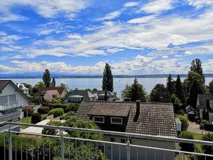 Neue 2-Zi Fewo in Hagnau am Bodensee, Balkon mit See- und Bergsicht, 150 Meter vom See