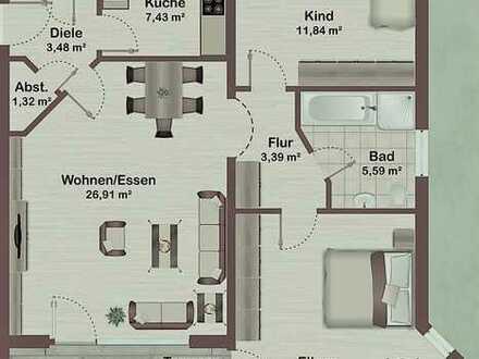 Großzügig geschnittene und lichtdurchflutete 3 Zimmerwohnung