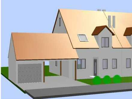 Sehr schöne Doppelhaushälfte als Rohbau mit Dachstuhl und FT-Garage