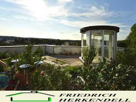 Stadtnahe Maisonette-Wohnung + ruhige Seitenstraße + Sonnenbalkone + Dachgarten mit Fernsicht