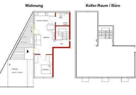 Wohnen und arbeiten an einem Platz: attraktive 2-Zimmer-EG-Wohnung mit Terrasse und großem Büro