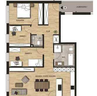 Neubauvorhaben 4 - Zimmer Wohnung mit Balkon im 1. OG