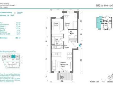 NEUBAU! Schöne 3-Zimmer-Wohnung (NBZ6.06) mit Balkon zum begrünten Innenhof