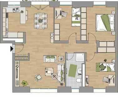 """Riesig: 45 qm Platz für Wohnen/Essen und Kochen! Und das in einem """"Premium-Sanierungs-Gebäude""""!"""