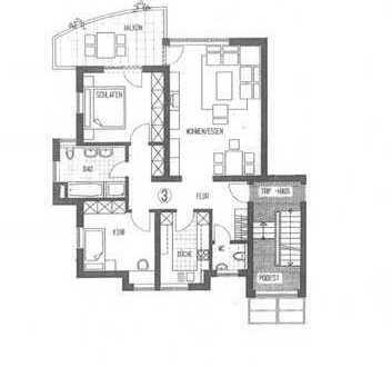 Die WOBAK vermittelt im Auftragt: helle 3-Zimmerwohnung mit Einbauküche