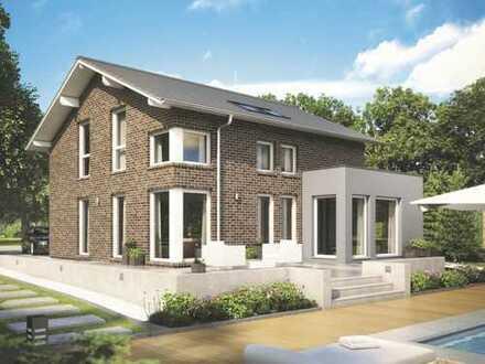 Haus mit großem Wohnbereich und Erker über Eck