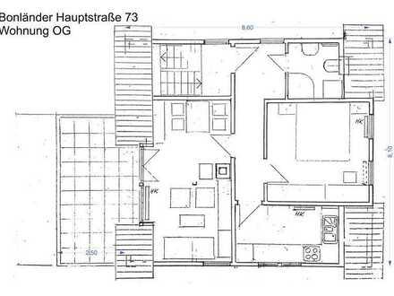 sonnige möblierte Dachgeschosswohnung mit Dachterasse, Stellplatz und Einbauküche in Filderstadt