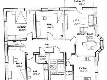 Schöne große helle 4 Zimmer Altbauwohnung im 1.OG mit Balkon und Erker in Neustadt an der Aisch