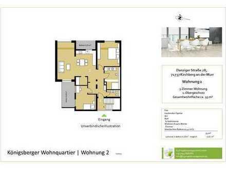 Großzügige 3,5-Zimmer-Whg. im OG mit Balkon (Whg. 2)