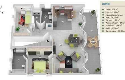 Penthouse Wohnung mit Terrasse in Merzenich zu vermieten
