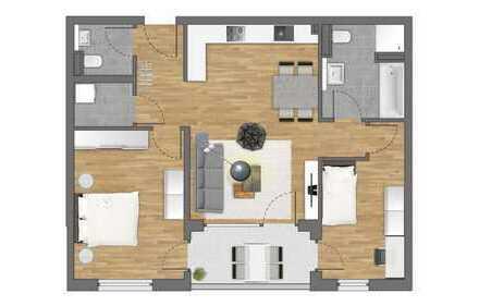 Erstbezug: Toll geschnittene 3-Zimmer Wohnung mit Gäste-WC und Balkon