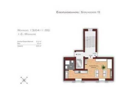 Gemütliche 1 Zi Wohnung (EBK) mit Blick ins Grüne
