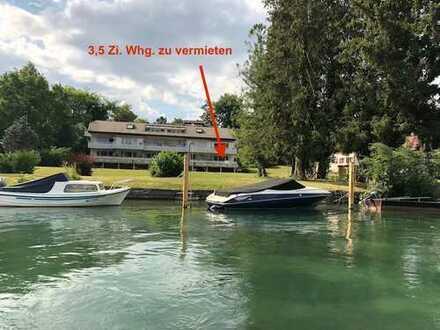 Wohnen, wo andere Urlaub machen! 3,5 Zi. Whg. mit Rheinsicht und Badeplatz direkt am Rhein.