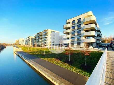 Gewerbeeinheit am Lindenauer Hafen | mit Terrasse für Freisitz direkt am Wasser | veredelter Rohbau
