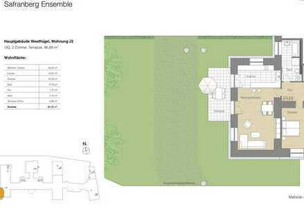 2 Zi.-Whg.,historischen Altbau mit Terrasse, mit individueller Küche