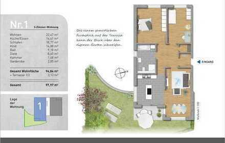 **MODERNES WOHNEN - Schöne 3 Zimmer Wohnung mit Gartenfläche**