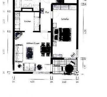 Schöne 2 Zi-Wohnung 56m², Einbauküche, überdachter Balkon, Kellerraum, Aufzug