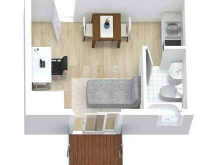 Erstbezug 1 Zimmer Wohnung mit 3,3m² Balkon