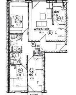 Gut geschnittene 4-ZimmerWohnung mit 2 Balkonen und Gäste WC
