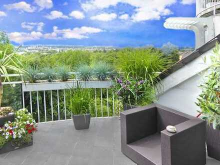 Frankfurt Bergen: Urbanität im Grünen - Herrliche Penthouse-Maisonette mit 2 Panorama-Terrassen