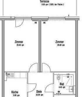 WG-Zimmer in einer sehr schönen brandneuen 2 Zimmer-Studenten-WG-Wohnung mit Einbauküche und Terrass