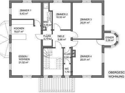 Erstbezug nach Sanierung: schöne 4-Zimmer-Wohnung mit EBK in Heppenheim - Ober-Hambach