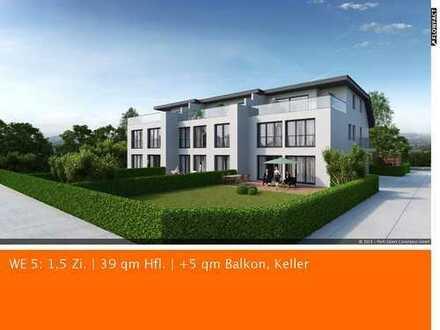 Neubau Möbliert: 1,5 Zimmer plus 5,5 qm Balkon