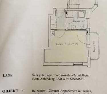 1-Zimmer-Wohnung mit Balkon und Einbauküche in Mindelheim