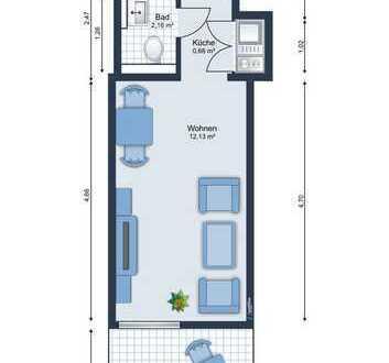E&Co.- Universität hochwertiges saniertes  1-Zimmer-Apartment mit Balkon im ruhigen Hinterhof