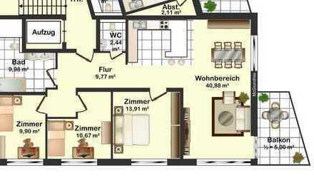 Barrierefreie 4-Zimmer-ETW mit Balkon und TG Stellplatz im Ortskern von Nöttingen