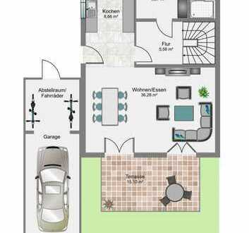 Reiheneckhaus in Planung inklusive Keller, Photovoltaikanlage und überlanger Garage KFW55 (massiv)